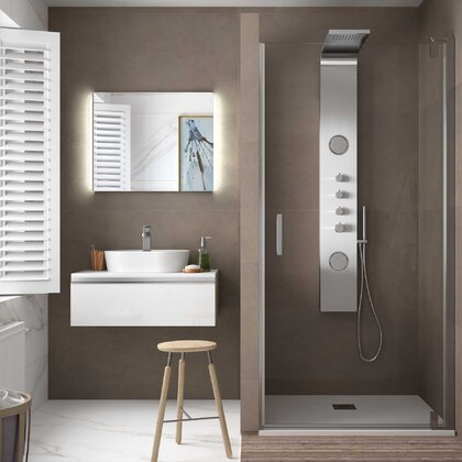 Shower screen MALMÖ frontal with hinged door Transparent